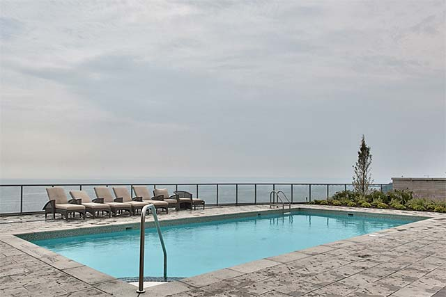 Roof top pool overlooking the marina and Lake Ontario.